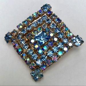 Celebrity vintage blue rhinestone brooch pin